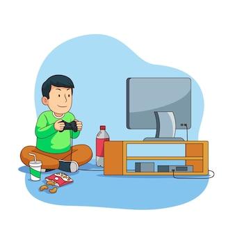Personnage jouant à la conception de jeux vidéo