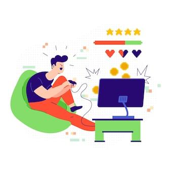 Personnage jouant l'illustration du jeu vidéo