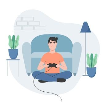 Personnage jouant à des jeux vidéo et assis sur le sol