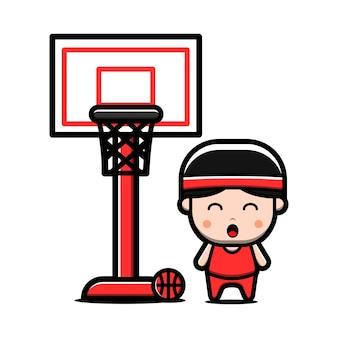 Personnage de joueur de basket mignon