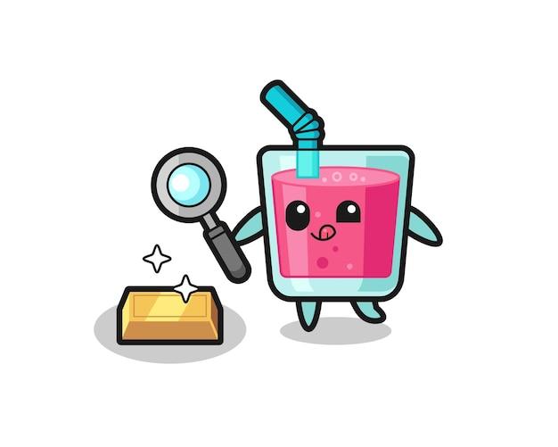 Le personnage de jus de fraise vérifie l'authenticité des lingots d'or, un design de style mignon pour un t-shirt, un autocollant, un élément de logo