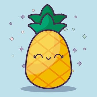 Personnage kawaii aux fruits de l'ananas