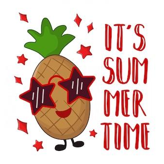 Personnage kawaii en dessin animé - ananas à lunettes de soleil