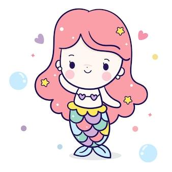 Personnage kawaii de dessin animé de jolie fille sirène