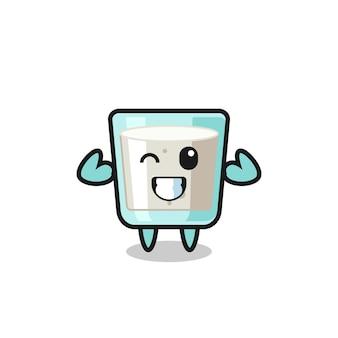 Le personnage de lait musclé pose en montrant ses muscles, un design de style mignon pour un t-shirt, un autocollant, un élément de logo