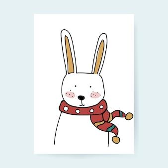 Personnage de lapin dessiné à la main avec écharpe, saison d'hiver