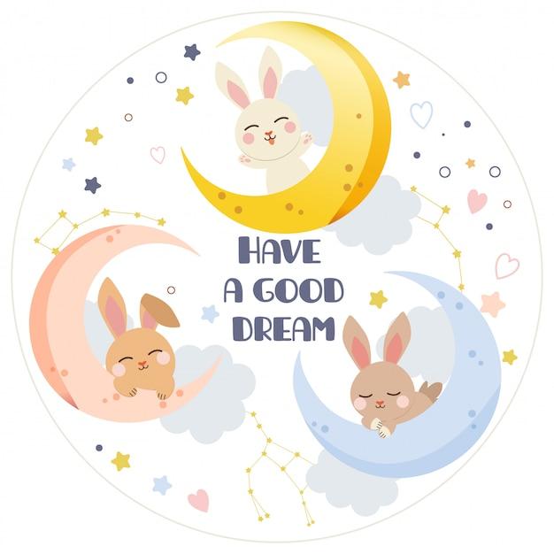Personnage de lapin mignon avec lune