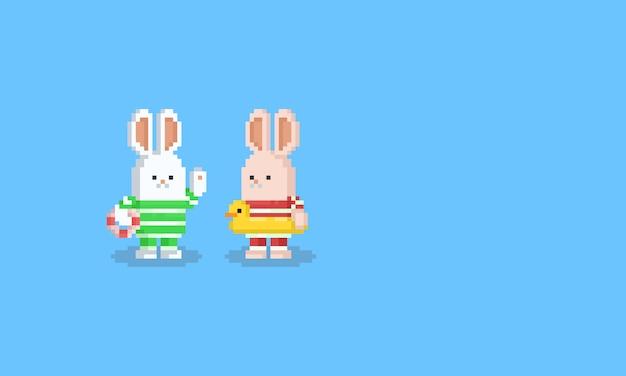 Personnage de lapin de plage dessin animé pixel art