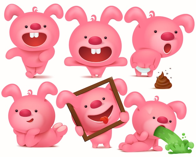 Personnage de lapin rose emoji défini avec différentes émotions et situations.