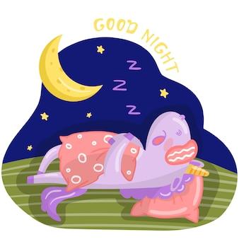 Personnage de licorne drôle de bande dessinée dormant sur le lit la nuit, bonne conception de nuit