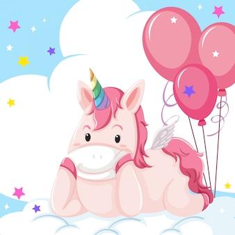 Un personnage de licorne sur nuage