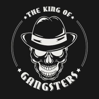 Personnage de logo de crâne de mafia avec chapeau