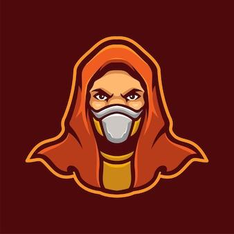 Personnage de logo d'e-sports de mascotte d'assassin