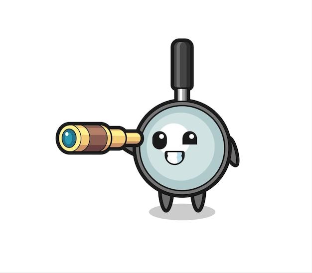 Le personnage de loupe mignon tient un vieux télescope, un design de style mignon pour un t-shirt, un autocollant, un élément de logo