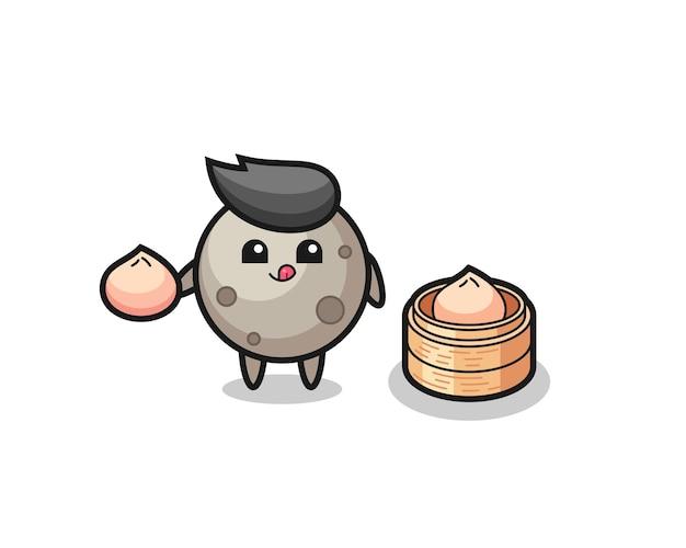 Personnage de lune mignon mangeant des petits pains cuits à la vapeur, design de style mignon pour t-shirt, autocollant, élément de logo