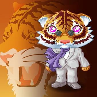 Personnage de la mafia tigre et fond de tigre.