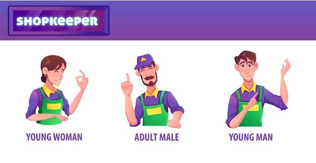 Personnage de magasin d'outils de commerçant