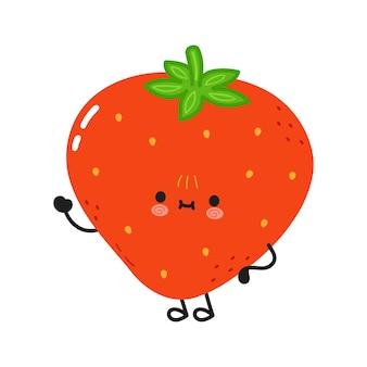 Personnage de main agitant la fraise drôle mignon