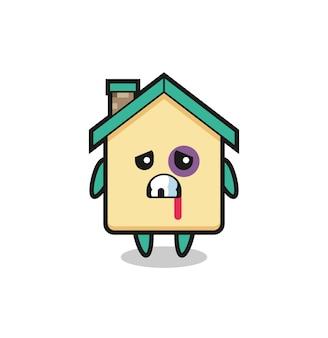 Personnage de maison blessé avec un visage meurtri, design mignon