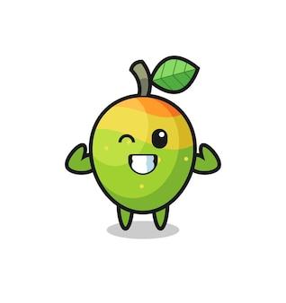 Le personnage de mangue musclé pose en montrant ses muscles, un design de style mignon pour un t-shirt, un autocollant, un élément de logo