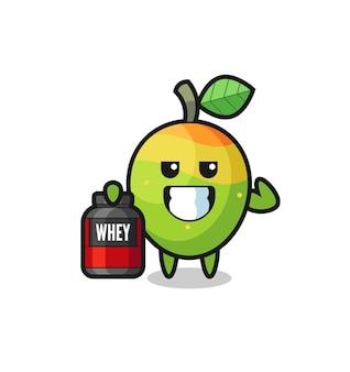 Le personnage de mangue musclé tient un supplément de protéines, un design de style mignon pour un t-shirt, un autocollant, un élément de logo
