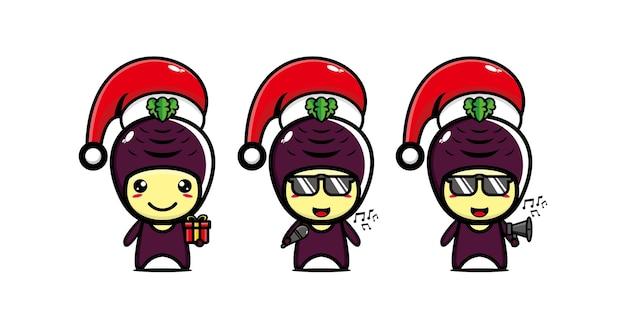 Personnage de manioc drôle mignon dans le chapeau de noël personnage de dessin animé kawaii de vecteur ligne plate