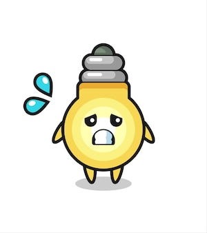 Personnage de mascotte d'ampoule avec un geste effrayé, design de style mignon pour t-shirt, autocollant, élément de logo