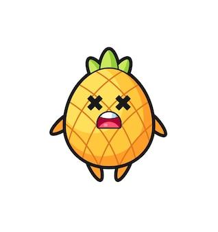Le personnage de mascotte d'ananas mort, design de style mignon pour t-shirt, autocollant, élément de logo