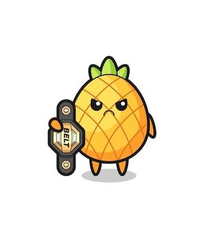 Personnage de mascotte d'ananas en tant que combattant mma avec la ceinture de champion, design de style mignon pour t-shirt, autocollant, élément de logo