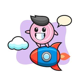 Personnage de mascotte d'anneaux d'oignon chevauchant une fusée, design de style mignon pour t-shirt, autocollant, élément de logo