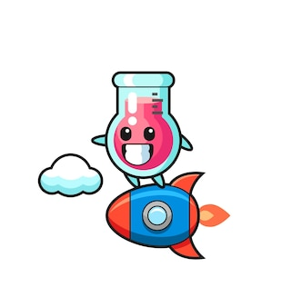 Personnage de mascotte de bécher de laboratoire chevauchant une fusée, design de style mignon pour t-shirt, autocollant, élément de logo