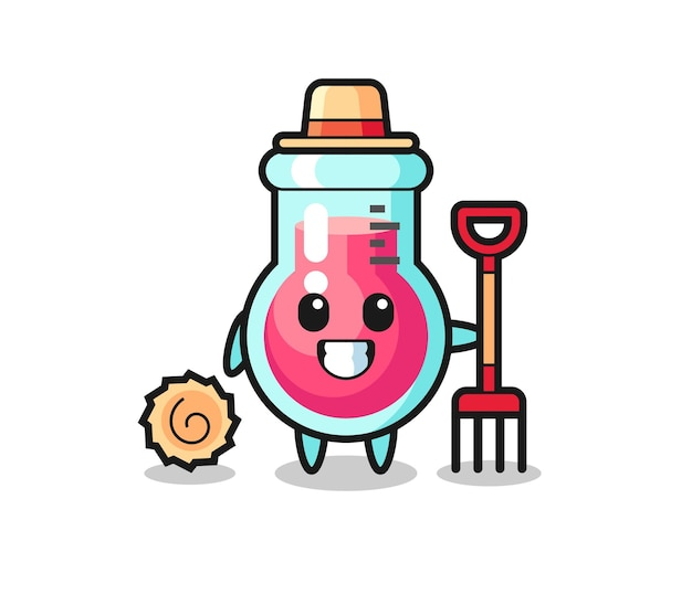 Personnage de mascotte de bécher de laboratoire en tant qu'agriculteur, design de style mignon pour t-shirt, autocollant, élément de logo