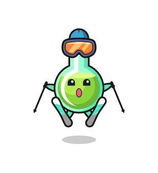 Personnage de mascotte de béchers de laboratoire en tant que joueur de ski, design de style mignon pour t-shirt, autocollant, élément de logo