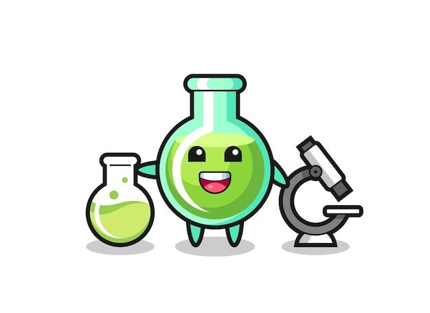 Personnage de mascotte de béchers de laboratoire en tant que scientifique, design de style mignon pour t-shirt, autocollant, élément de logo