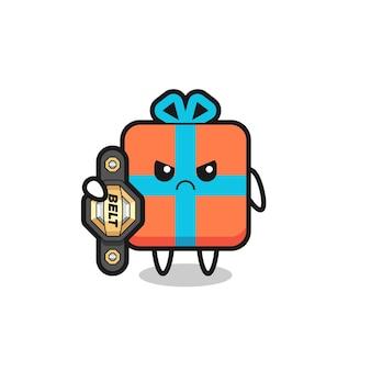 Personnage de mascotte de boîte-cadeau en tant que combattant mma avec la ceinture de champion, design de style mignon pour t-shirt, autocollant, élément de logo