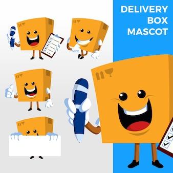 Personnage de mascotte de boîte de livraison
