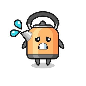 Personnage de mascotte de bouilloire avec un geste effrayé, design de style mignon pour t-shirt, autocollant, élément de logo