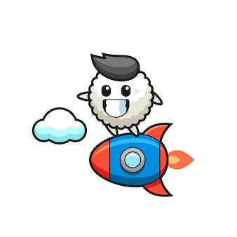 Personnage de mascotte de boule de riz chevauchant une fusée, design de style mignon pour t-shirt, autocollant, élément de logo