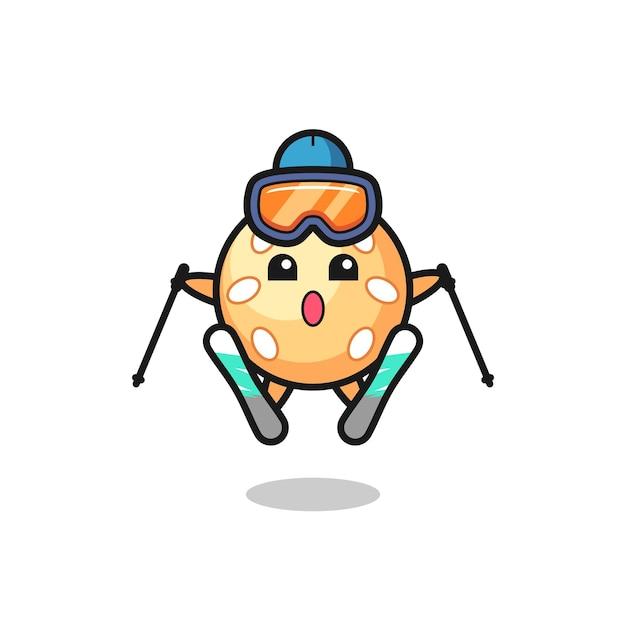 Personnage mascotte boule de sésame en tant que joueur de ski, design de style mignon pour t-shirt, autocollant, élément de logo