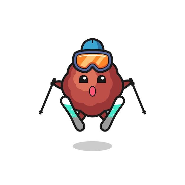 Personnage de mascotte de boulette de viande en tant que joueur de ski, design de style mignon pour t-shirt, autocollant, élément de logo