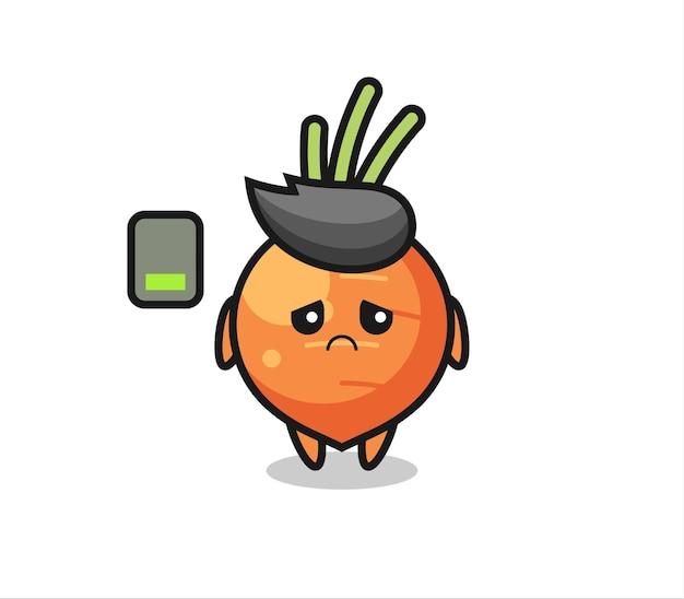 Personnage de mascotte de carotte faisant un geste fatigué, design de style mignon pour t-shirt, autocollant, élément de logo