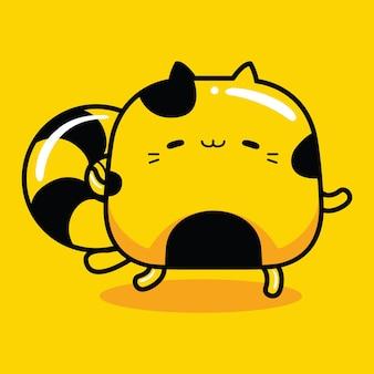 Personnage de mascotte de chat mignon avec bouée de sauvetage dans un style cartoon plat