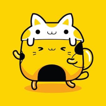 Personnage de mascotte de chat mignon avec un chapeau de lapin dans un style cartoon plat