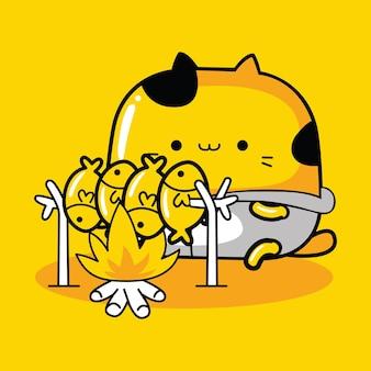 Personnage de mascotte de chat mignon grillant du poisson dans un style cartoon plat