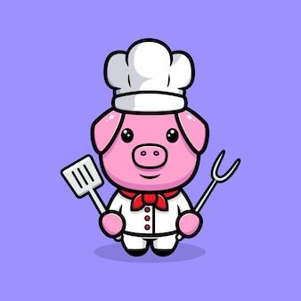 Personnage de mascotte de chef cochon mignon