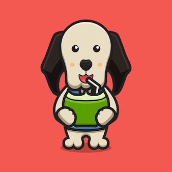 Personnage de mascotte de chien mignon boire illustration d'icône de dessin animé de noix de coco. conception isolée sur rouge. style de dessin animé plat.