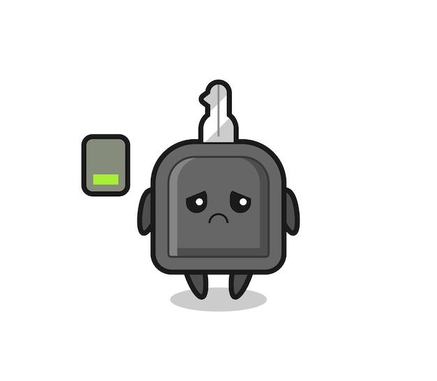 Personnage de mascotte de clé de voiture faisant un geste fatigué, design de style mignon pour t-shirt, autocollant, élément de logo