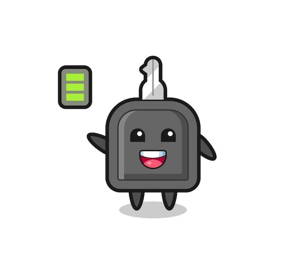 Personnage de mascotte de clé de voiture avec geste énergique, design de style mignon pour t-shirt, autocollant, élément de logo