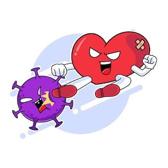 Personnage de mascotte de coeur botter le virus corona, concept d'amour contre le virus