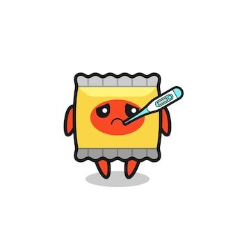 Personnage de mascotte de collation avec fièvre, design de style mignon pour t-shirt, autocollant, élément de logo